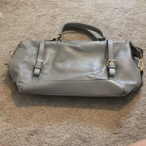 Gray pebble Leather tote